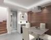 vista da sala de jantar com acabamento em madeira e tons claros