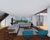 sala de estar com vista para jardim vertical