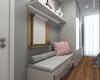 quarto de menina com piso em madeira e moveis brancos