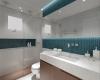 banheiro com acabamento em pastilha azul da portobello