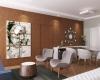 sala de estar integrada com a sala de jantar com decoração clean