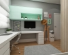 vista lateral quarto de adolescente painel tv e armário na cor verde