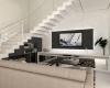 sala de tv com revestimento da castellato e iluminação indireta no painel da tv