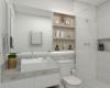 banheiro com tons claros
