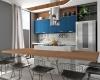 cozinha integrada da casa de louveira ista do armario azul e tons em madeira