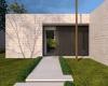 entrada da casa minimalista em concreto
