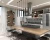 vista da cozinha mesa de centro com fogão e coifa