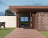 fachada do restaurante com tijolinho madeira e viga metalicas