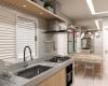 cozinha clean com detalhes em madeira e bancada em pedra sintética cinza apartamento talipo campinas