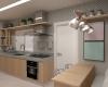cozinha com acabamento cinza e madeira em tons claros apartamento talipo campinas