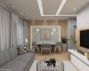 sala de estar co revestimento nas paredes em madeira e piso vinílco claro  apartamento talipo campinas