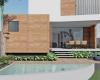 vista da piscina sobrado com arquitetura contemporânea em jundiaí concreto aparente e revestimento da fachada em arenito vermelho