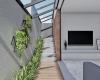 vista do corredor lateral com piso em madeira plástica e concreto polido casa no brisas da mata em jundiaí