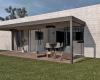 vista dos fundos casa térrea em concreto aparente com arquitetura minimalista