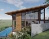 fachada lateral telhado com uma água casa em estrutura metálica
