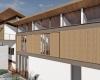 fachada frontal vista do bloco dos quartos de casa em estrutura metálica em terreno com declive acentuado