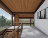vista do hall de entrada forro de madeira e estrutura metalica aparente