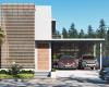 fachada casa contemporânea com painel ripado de madeira