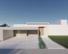 fachada casa contemporânea com garagem em concreto aparente porta de madeira e brise metálico branco