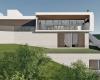 fachada dos fundos de casa contemporânea em concreto aparente estrutura metálica e esquadrias na cor marrom escuro