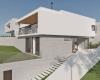 vista lateral de casa contemporânea em concreto aparente, massa branca, estrutura metálica e forro de madeira casa em jundiaí