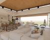 vista da sala de estar, sala de jantar e cozinha em ambientes integrados, com pé direito alto e forro de madeira